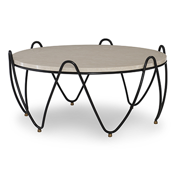 Cocktail Table - Black w/ Brass Feet