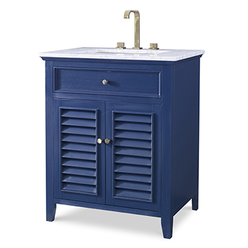 Louvered Medium Sink Chest - Cadet Blue