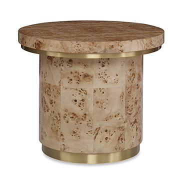 Burl Round End Table w/ Clear Coat