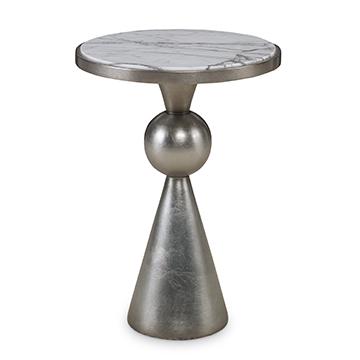 Minaret Accent Table - Satin Ant. Silver